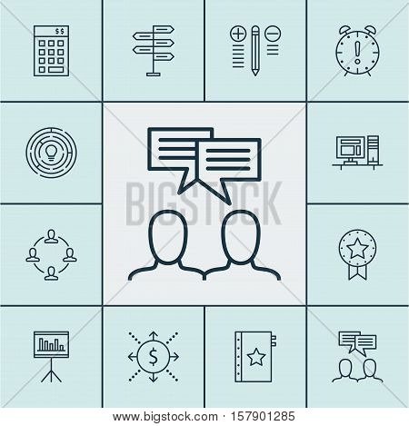 Set Of Project Management Icons On Decision Making, Present Badge And Discussion Topics. Editable Ve