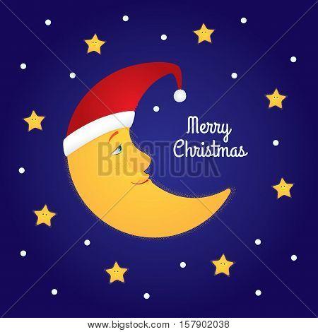 Vector cartoon illustration of a half moon in a Santa hat among stars. Dark blue background, text