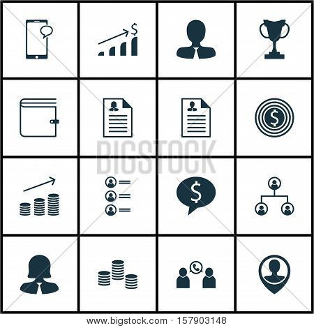 Set Of Human Resources Icons On Messaging, Successful Investment And Business Woman Topics. Editable