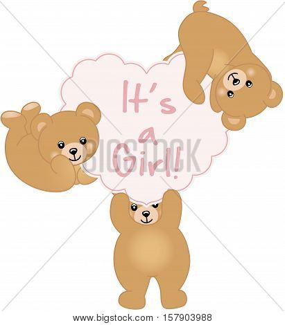 Scalable vectorial image representing a girl teddy bear baby shower, isolated on white.