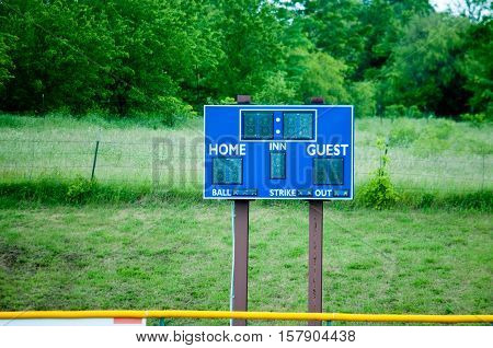 Blue and white baseball scoreboard with green background.