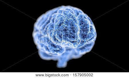 Human brain in 3d space. Blue abstract futuristic medicine, science and technology background illustration. Depth of field settings. 3D rendering.