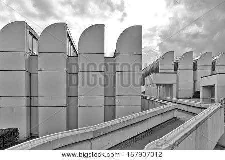 BERLIN GERMANY - JULY 2015: The Bauhaus Archive Museum of Design collects art pieces items and literature which relate to the Bauhaus School one of the most influential schools of architecture. Black and white photograph