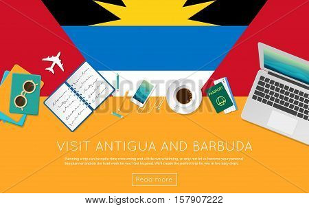 Visit Antigua And Barbuda Concept For Your Web Banner Or Print Materials. Top View Of A Laptop, Sung