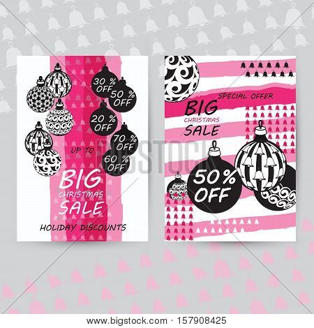 Vector set of Christmas sale cards. Includes balls, bells. Xmas sale offer. Sale stickers with winter emblem. Set of banners, flyers or posters. Christmas sale and discount templates.