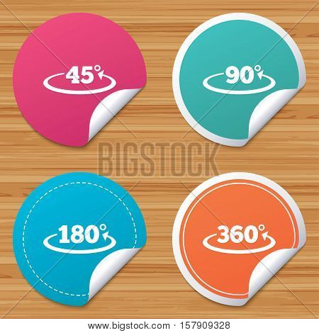 Round stickers or website banners. Angle 45-360 degrees icons. Geometry math signs symbols. Full complete rotation arrow. Circle badges with bended corner. Vector