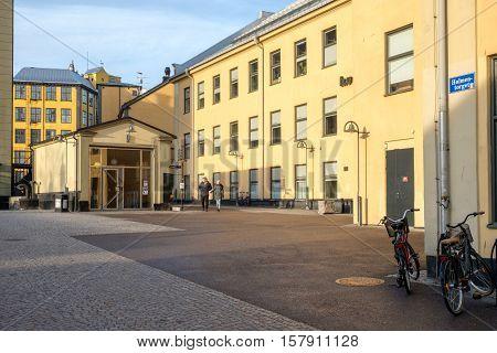 NORRKOPING, SWEDEN - NOVEMBER 20, 2016: The unique industrial landscape in the city center of Norrkoping.  Norrkoping is a historic industrial town in Sweden