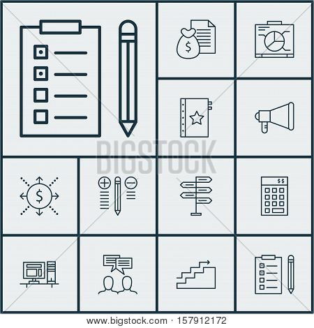 Set Of Project Management Icons On Warranty, Opportunity And Announcement Topics. Editable Vector Il