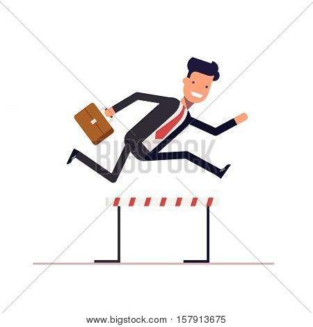 Businessman or manager runs on obstacle course with a briefcase in hand. Man jumping over the barrier. Achieving goal. Vector, illustration EPS10