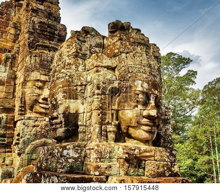 Enigmatic Smiling Giant Stone Faces Of Bayon Temple, Angkor Thom