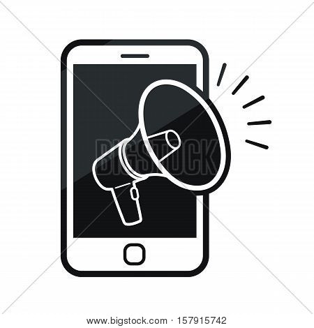 Conceptual mobile phone with a megaphone icon in a black and white vector design illustration with sound bars