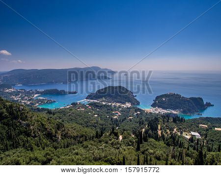 Paleokastritsa village view on Corfu Greek island