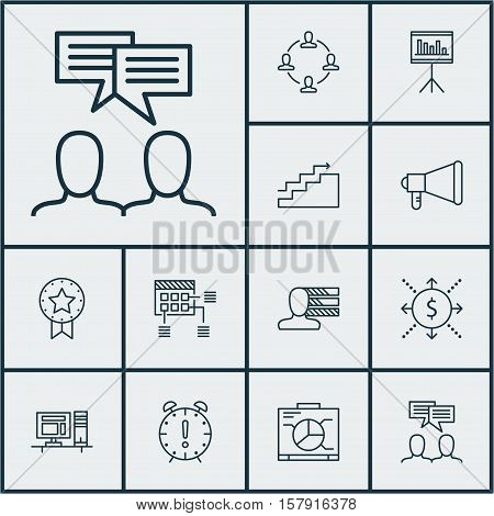 Set Of Project Management Icons On Board, Announcement And Collaboration Topics. Editable Vector Ill