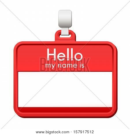 Colorful red name tag hanging from a hanger with blank copy space and a greeting - Hello my name is - over a white background vector illustration