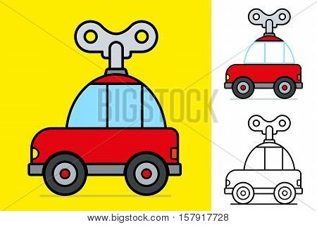 Cute little red cartoon windy car with a large mechanical key on a yellow background for kids Vector illustration
