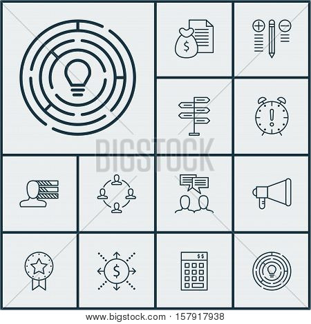 Set Of Project Management Icons On Decision Making, Discussion And Report Topics. Editable Vector Il