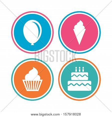 Birthday party icons. Cake with ice cream signs. Air balloon symbol. Colored circle buttons. Vector