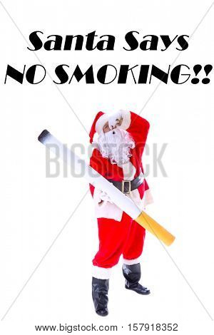 Smoking Hot Santa Claus.  Santa holds his nose and aGiant Cigarette as if he is saying NO SMOKIKING!  Isolated on white with room for your text.