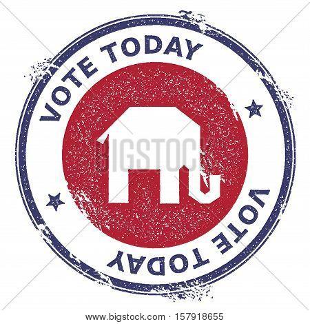 Grunge Broken Republican Elephants Rubber Stamp. Usa Presidential Election Patriotic Seal With Broke