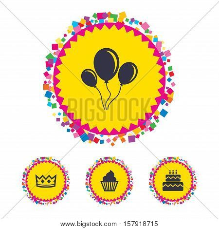 Web buttons with confetti pieces. Birthday crown party icons. Cake and cupcake signs. Air balloons with rope symbol. Bright stylish design. Vector