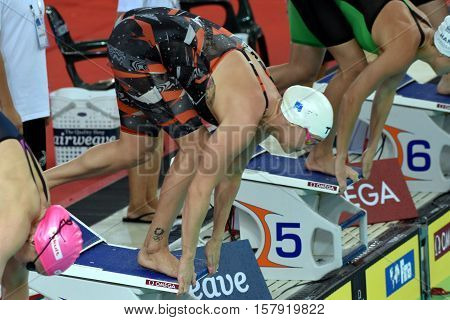 Hong Kong China - Oct 29 2016. Danish Olympian and Record Holder sprint freestyle swimmer Jeanette OTTESEN at the start. FINA Swimming World Cup Preliminary Heat.