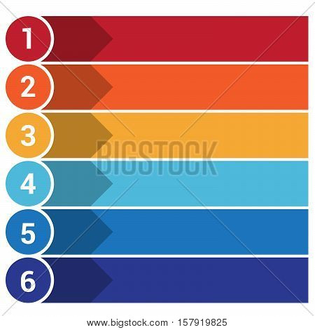 Template Infographic the numbered colourful horizontal strips arrows points area for text six positions.