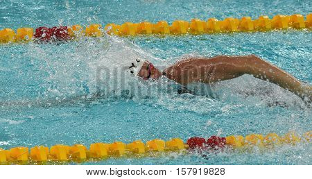 Hong Kong China - Oct 29 2016. Danish Olympian and Record Holder sprint freestyle swimmer Jeanette OTTESEN swimming freestyle. FINA Swimming World Cup Preliminary Heat.
