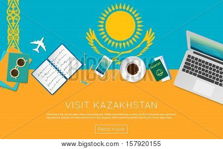 Visit Kazakhstan Concept For Your Web Banner Or Print Materials. Top View Of A Laptop, Sunglasses An