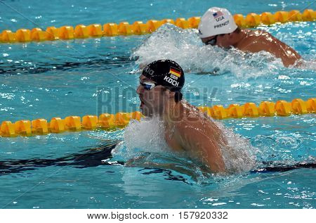 Hong Kong China - Oct 29 2016. Olympian world champion and record holder swimmer Marco KOCH (GER) swimming breaststroke. FINA Swimming World Cup Preliminary Heats Victoria Park Swimming Pool.