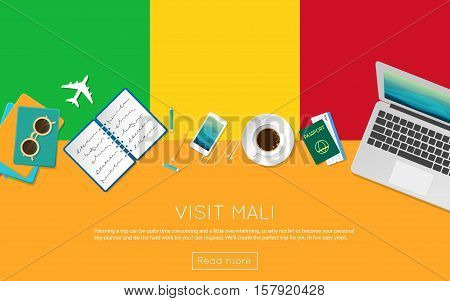 Visit Mali Concept For Your Web Banner Or Print Materials. Top View Of A Laptop, Sunglasses And Coff