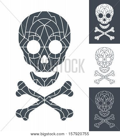 Vector of skull and crossbones with mosaic pattern in four different grey and white color variations for conceptual themes of horror terror Halloween poison or piracy