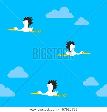 Seamless background pattern of flying storks on a blue sky with clouds heading in opposite directions vector design in square format
