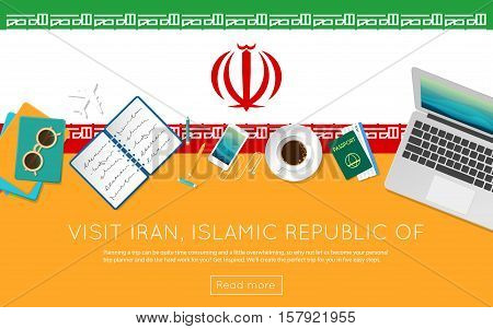Visit Iran, Islamic Republic Of Concept For Your Web Banner Or Print Materials. Top View Of A Laptop