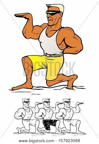 Beach Dude. Muscle guy at the beach, striking a dramatic pose.