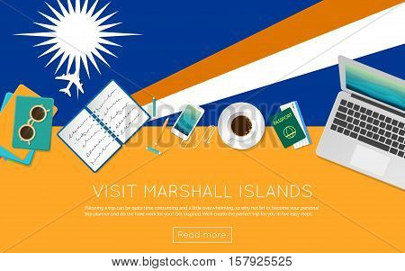 Visit Marshall Islands Concept For Your Web Banner Or Print Materials. Top View Of A Laptop, Sunglas