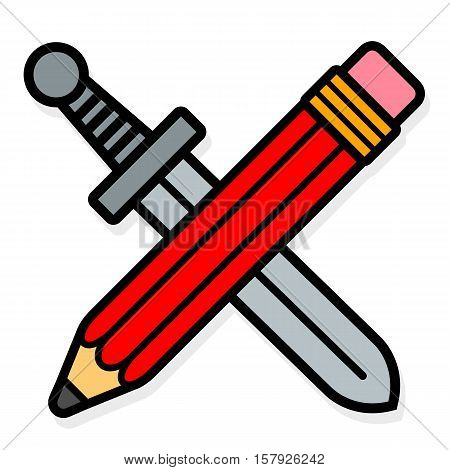 Vector icon of crossed red pencil and sword isolated on white