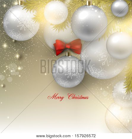 Christmas background with balls. White Xmas baubles. Vector