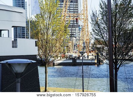 view to background of Rotterdam city harbour, future architecture concept, skyscraper lifestyle cocept casual close up
