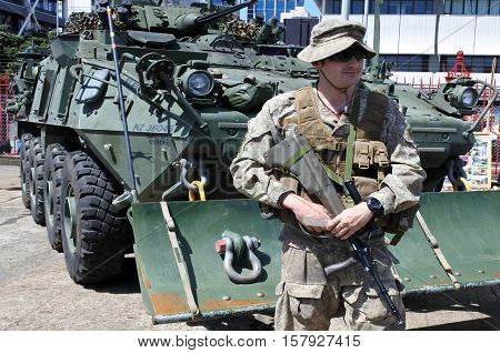 AUCKLAND - NOV 20 2016:New Zealand military soldier. The New Zealand Army comprises around 4500 Regular Force personnel 2000 Territorial Force personnel and 500 civilians.
