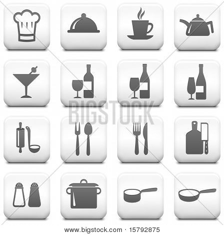 Restaurant Icon on Square Black and White Button Collection Original Illustration
