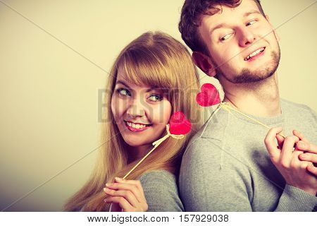 Lovely Happy Couple With Hearts.