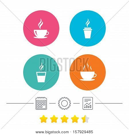 Coffee cup icon. Hot drinks glasses symbols. Take away or take-out tea beverage signs. Calendar, cogwheel and report linear icons. Star vote ranking. Vector