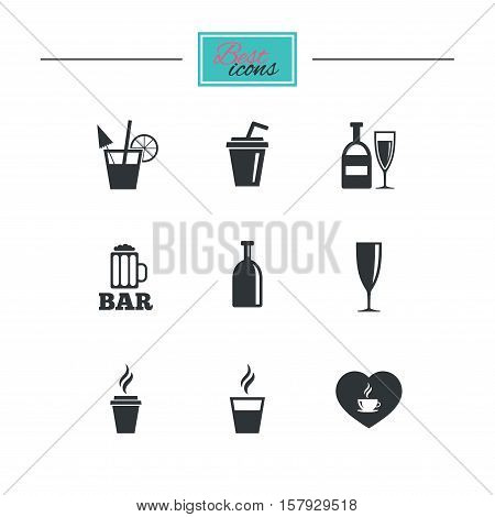 Beer, coffee and tea icons. Beer, wine and cocktail signs. Soft and alcohol drinks symbols. Black flat icons. Classic design. Vector