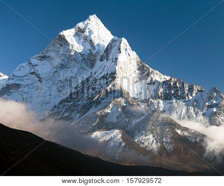 beautiful view of mount Ama Dablam - way to Everest base camp Khumbu valley Solukhumbu Sagarmatha national park Nepal