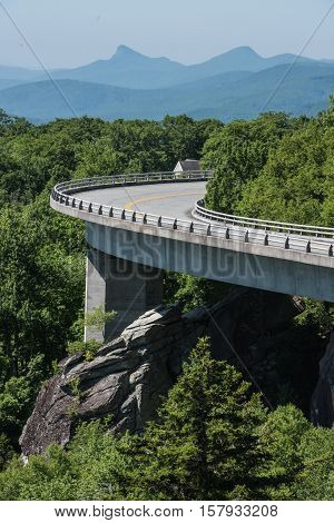 Linn Cove Viaduct Bends in Summer Afternoon