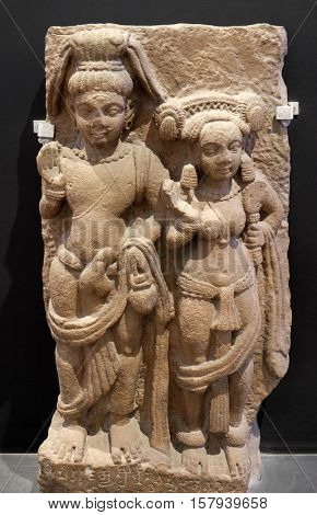 KOLKATA, INDIA - FEBRUARY 09:  Siva-Parvati, from 5th century found in Kausambi, Uttar Pradesh now exposed in the Indian Museum in Kolkata, West Bengal, India on February 09, 2016.