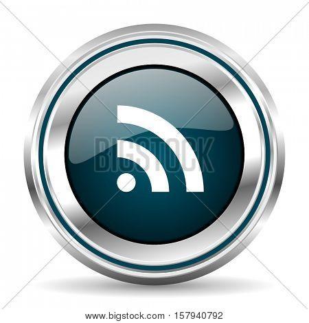 Rss vector icon. Chrome border round web button. Silver metallic pushbutton.