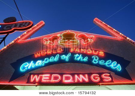 Neon Wedding Chapel Sign in Las Vegas, USA
