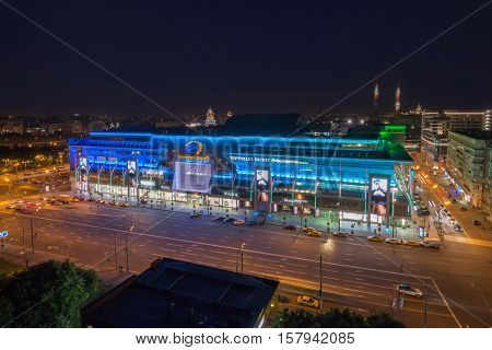 MOSCOW - JUN 10, 2016: European mall at night, unusual triangular building with area of 180 000 s. m., designed by architect Platonov