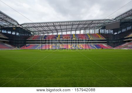 MOSCOW - APR 21, 2016: Green grass on new Stadium CSKA Moscow at cloudy day, Stadium was built in 2016